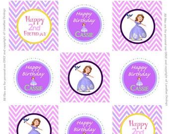 Custom Sofia the First Birthday Cupcake Toppers Digital