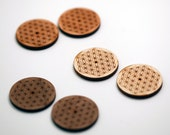 2 Flower of Life Wood Beads - Middle Hole : Cherry, Maple or Walnut
