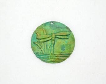 Patina Dragonfly Pendant Charm, Brass Dragonfly