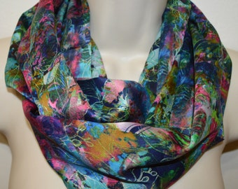 Multicolor flower print infinity scarf, women colorful scarf, infinity loop, spring/summer/fall infinity scarf, woman scarf,