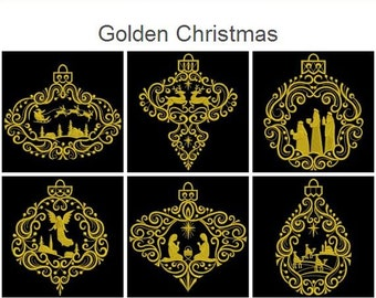 Golden Christmas Holidays Machine Embroidery Designs Instant Download 4x4 5x5 6x6 hoop 11 designs APE2059