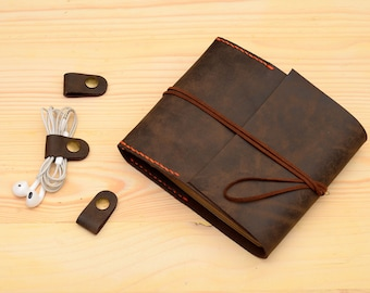 leather cd dvd  disc case Dark Brown oil  leather refillable cd cover organizer
