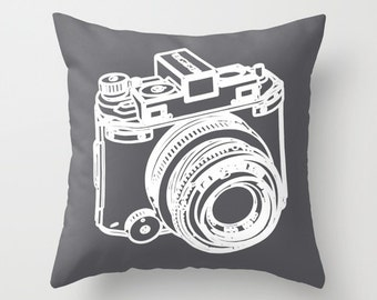 Camera Pillow Cover - Camera Cushion Cover - Camera Throw Pillow - Decorative Pillow - Modern Home Decor - By Aldari Home