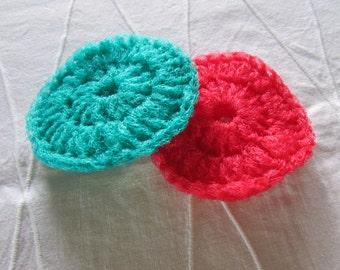 Handy, crocheted nylon netting scrubbies - Pot scrubbers - Foot scrubbers - Sold in sets of 2