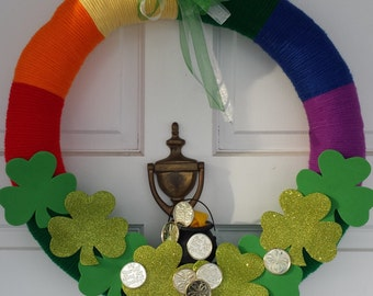 Irish Wreath, St Pat's Wreath, rainbow wreath, Pot of Gold
