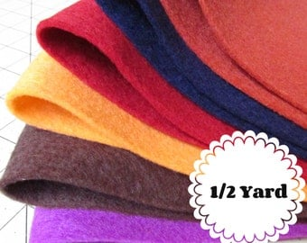 1/2 Yard 100% Merino Wool Felt - Cut to order - You Choose Color