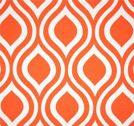 Orange white geometric modern home decor fabric by for Modern home decor fabric
