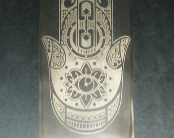 Hamsa Hand-- Glass Etched Water Bottle