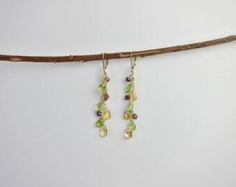 Peridot, Citrine, Garnet 14K Gold Handmade Earrings
