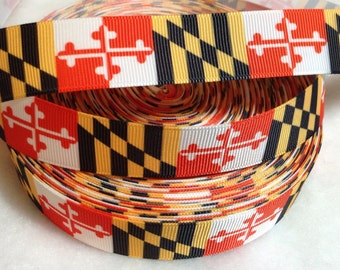 4 Yards of 7/8 Maryland Flag grosgrain ribbon