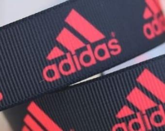 "4 Yards of Adidas Red on Black  7/8"" Grosgrain Ribbon"