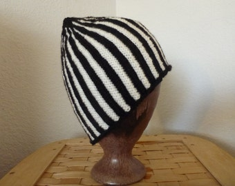 black and white striped knitted beanie elf hat