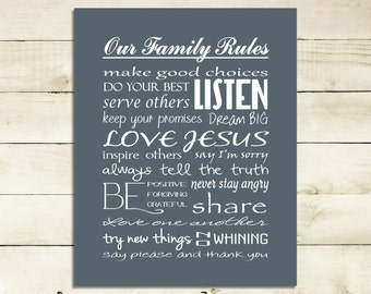 Our Family Rules   Printable Custom Gift   Gift ideas   Great housewarming or hostess gift   INSTANT DOWNLOAD