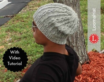Loom Knitting Pattern Hat Slouchy Beanie for Men or Women. Includes Video Tutorial. For Large or Extra Large Round Knitting Looms