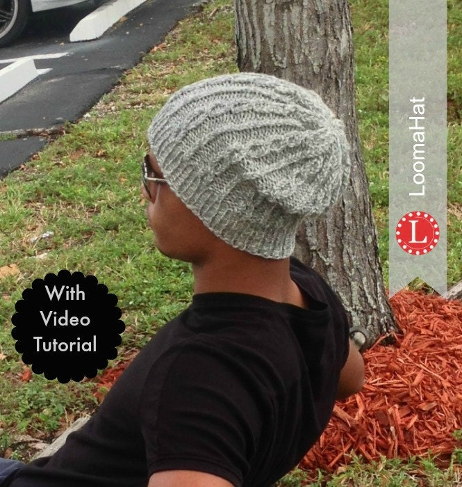 Round Loom Knitting Patterns Hats : Loom Knitting PATTERNS Hat Slouchy Beanie for Men or Women.