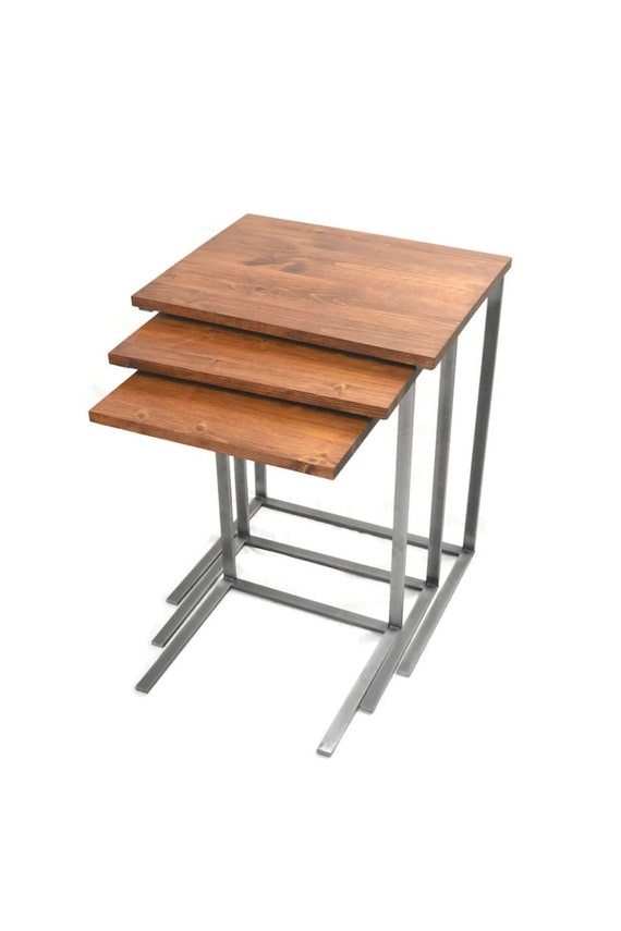 Nesting Snack Tables ~ Nesting tv tray tables c table laptop by blackironmetalworks