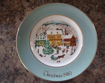 1980 Christmas Plate Series Eighth Edition Country Christmas Avon by Enoch Wedgwood England Collectible China L1485