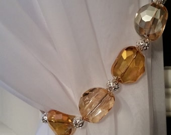 Beaded drapery tie-back with amber & silver beads, on copper wire. So sparkling and pretty!  Glam up your curtains!