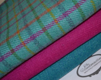 HARRIS TWEED FABRIC 100% pure virgin wool with authenticity labels (3 Piece Bundle 36.5cm by 25cm) Pink turquoise tartan herringbone