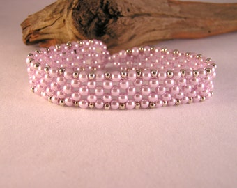 Pearl Bracelet, Formal Jewelry, Beadwork Bracelet, Pink Pearls, Bridal Jewelry, Gift for Her, Bead Bracelet Pearl, Bead Bracelet Women
