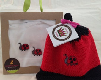 Lady Bug Appliqué Knitted Newborn Baby Hat, Red & Black, Matching Onesie (Optional Set), Best Baby Gift, Hand-Knit, Cotton