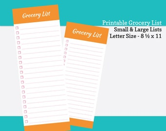 Printable Grocery List - Portrait (8.5  x 11) and Landscape (11 x 8.5 ). PDF Grocery Shopping Planner - Orange