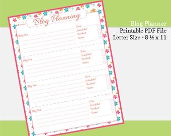 Printable Blog Planner Pages, Blogging Schedule, Blog Post Planning - Zesty Floral Series - Letter Size 8 1/2  x 11.