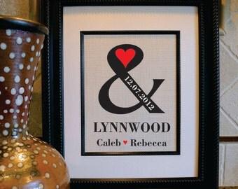 2nd Anniversary Cotton Gift - Ampersand burlap art - Housewarming Gift - Wedding Burlap Sign -cotton anniversary gift (an123a)
