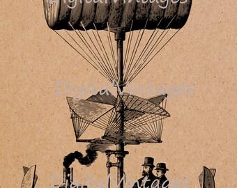 Digital Image Steam Punk Air Ship Vintage Download Printable Graphic Antique Clip Art for Transfers Making Prints HQ  SVG,jpg,png 300dpi