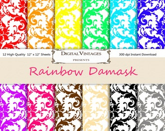 Damask Digital Paper, Digital Papers, digital paper damask, pink damask digital paper, purple damask digital paper, red damask, black damask
