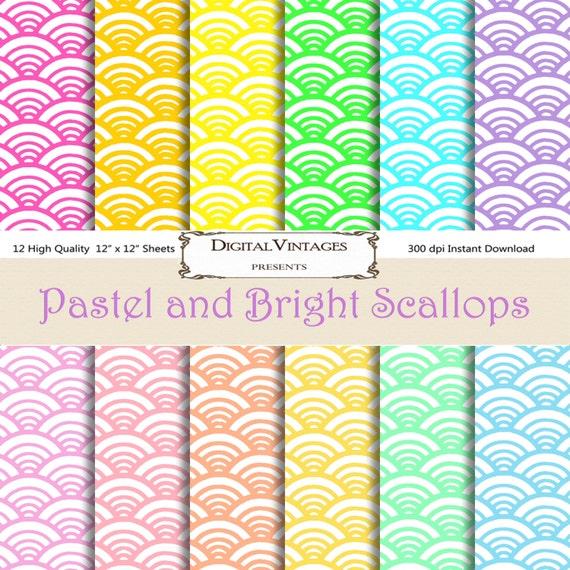 Pastel digital paper pastel scallop bright digital paper wave