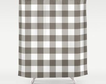 45 colors Buffalo Plaid Shower Curtain, Farmhouse Shower Curtain, Rustic Lumberjack Shower Curtain, Men Bathroom Decor