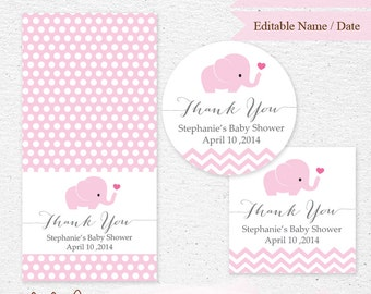 INSTANT DOWNLOAD - Editable Text - Pink Elephant Baby Shower Thank You Tag - Printable Instant Download