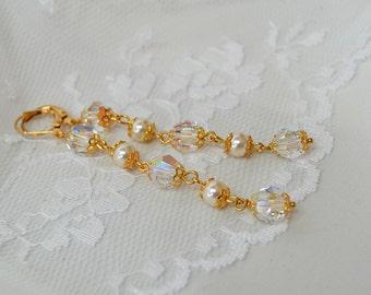 Bridal crystal pearl earrings Long dangle earrings Pearl drop earrings Linear crystal pearl wedding earrings Long pearl earrings for bride