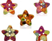 Mixed Star Shape 2 Holes Wood Sewing Buttons Scrapbooking