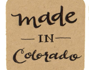 """Made in Colorado Kraft Stickers for Use on Handmade Creations, 1.5"""" Kraft Labels / Envelope Seals / Square Labels"""