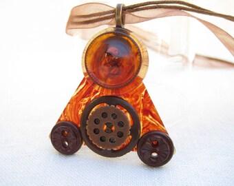 Copper Pendant, Guitar Pick Necklace, Button Necklace, Steampunk pendant,  Copper Buttons, Triangular pendant, Music Jewelry