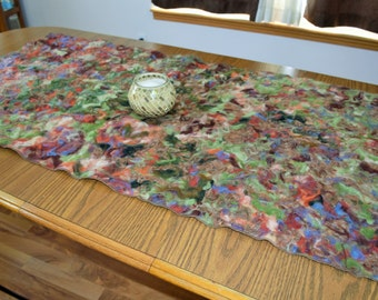 Nuno Felted Table Runner or Wall Hanging Wool Felted Falling Leaves Fall Autumn Inspired