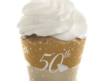 50th Anniversary Cupcake Wrappers - Anniversary Party Cupcake Decorations - Set of 12