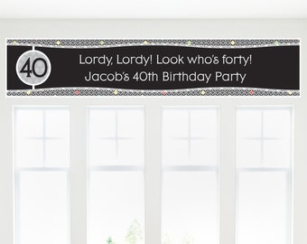 Adult 40th Birthday Party Banner - Birthday Party Decorations