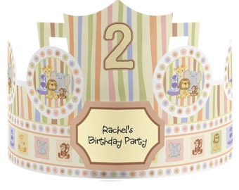 8 Custom Zoo Crew - Zoo Animals Party Hats - Birthday Party Hats - Party Supplies - 8 Count