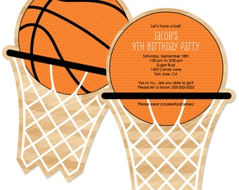 Basketball Invitations - Personalized Birthday Party Invites - Set of 12