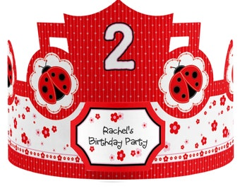 8 Custom Ladybug Party Hats - Birthday Party Hats - Party Supplies - 8 Count