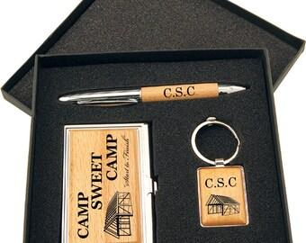 Wood Pen, Keychain and Business Card Holder Gift Set in Black Presentation Bo