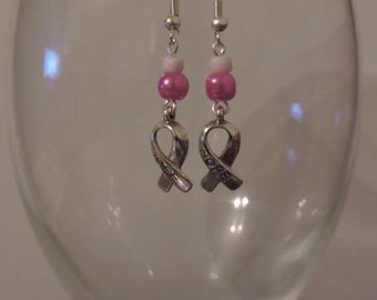 Cancer awareness hope ribbon charm and pearl earrings (part of selling price will be donated, please read desciption) :)
