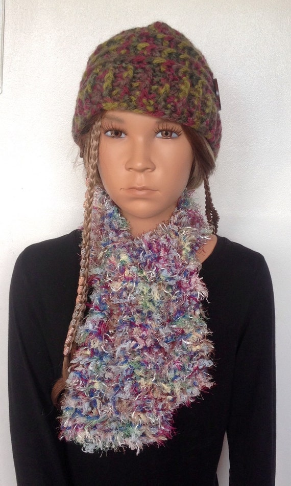 Childs Scarf. Knitted Fluffy Scarf. by CraftyJoes on Etsy