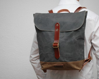 Waxed canvas rucksack/backpack, charcoal color, brown snuff, with handles, leather  ,hand wax