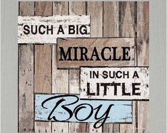 """Such A Big Miracle In Such A Little Boy Wood Framed Art Picture 12x12"""""""