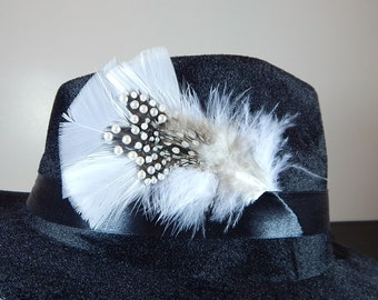 Feather pearl and polka dot hat accessory, attaches to hat band or with hat pin