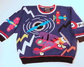 Reduced Price:  Berek Airplane sweater, women's S/kids L, airplanes, 100% Pima Cotton